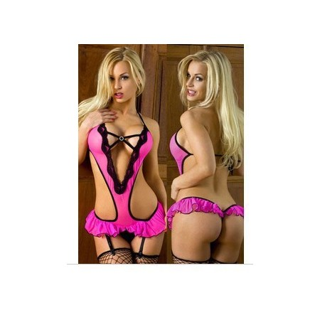Lingerie body rosa con gonna mini e maxi scollatura