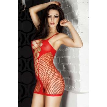 Mini robe sexy en résille Rouge