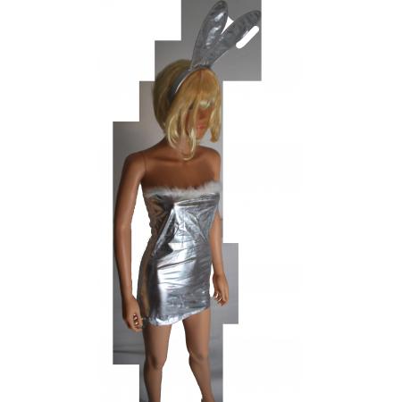 "Costume Sexy ""Lapine coquine"" Argenté"