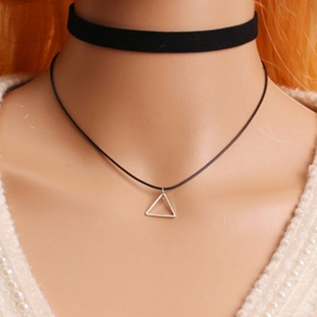Collier Leater Triangle Black