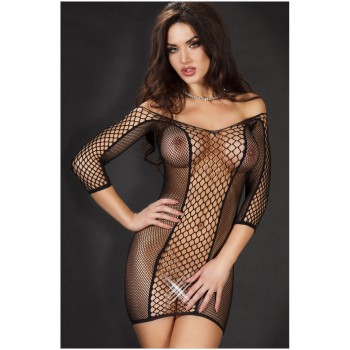 Dress long sleeve mesh sexy Black or Red