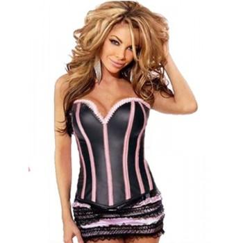Corsetto sensuale nero e rosa