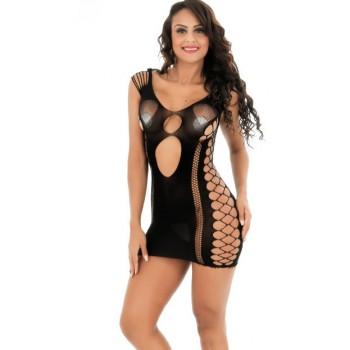 Mini Robe Sexy Résille Noir MELANIE