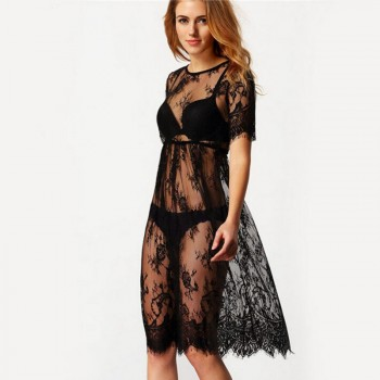 Dress in black lace transparent