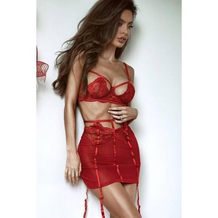 Sinnliche luxus-dessous rot mit spitze