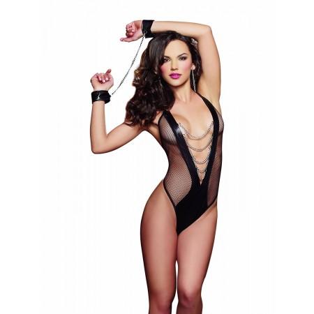 Body Sexy en résille et simili cuir