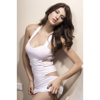 Sublime robe de soirée blanche à découpes sexy !