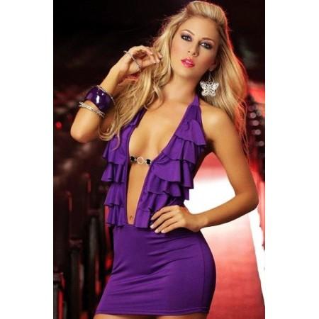 Robe violette avec décolleté sexy