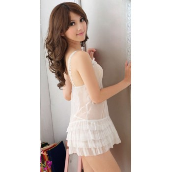 Babydoll glamour white with lacing