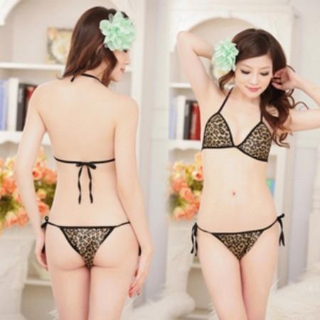 Bikini mit Leopardenmuster und Schwarz