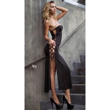 Robe longue sexy noir avec laçage