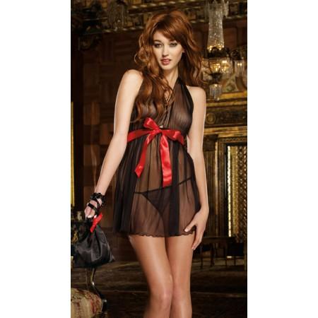 Splendide chemise de nuit noir transparent avec ruban rouge !