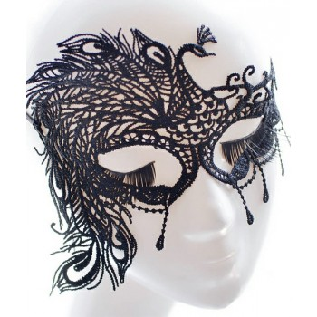 Maschera di pizzo nero asimmetrico
