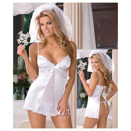 Splendide chemise de nuit sexy blanche !