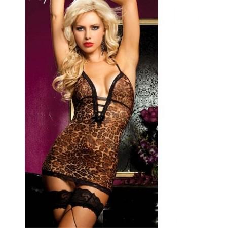 Magnifique robe de soirée sexy léopard