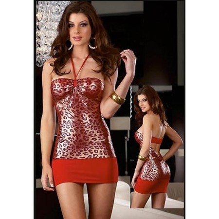Magnifique robe de soirée sexy léopard rouge