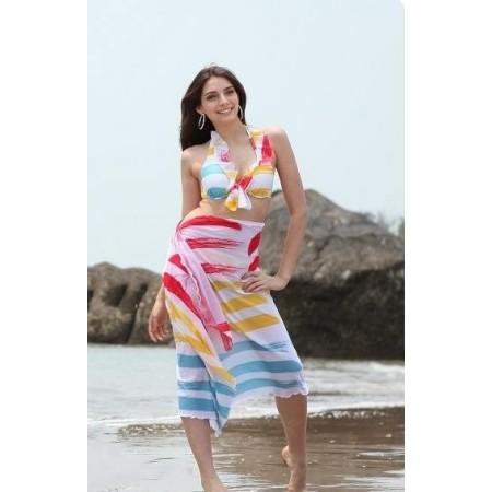 Molto bello il bikini e pareo-multicolore.