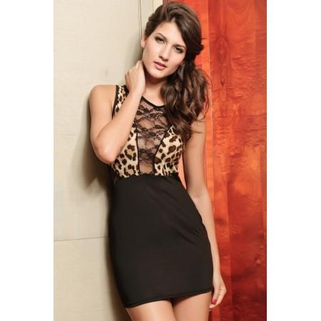 robe noir et léopard au décolleté transparent