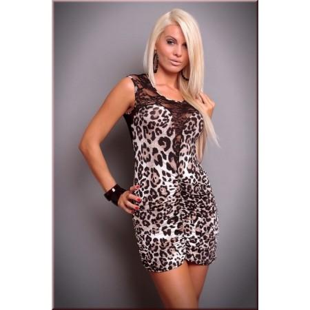 Robe de soirée léopard à dentelle