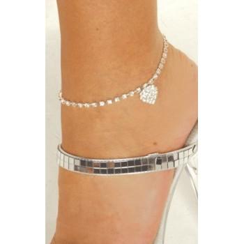 Bracelet Cheville Chaine Argent ROMANTIQUE
