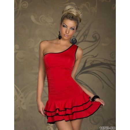 Flirty Sexy Red One Shoulder Layered Ball Party Dress Clubwear