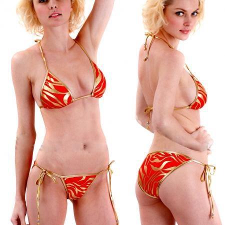 Bikini sexy rouge zebré doré