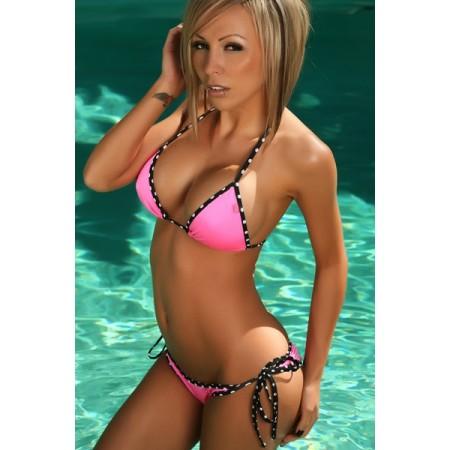 Bikini Sexy rose bordure à pois