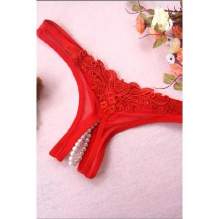 String Perle Dentelle Rouge GLAM