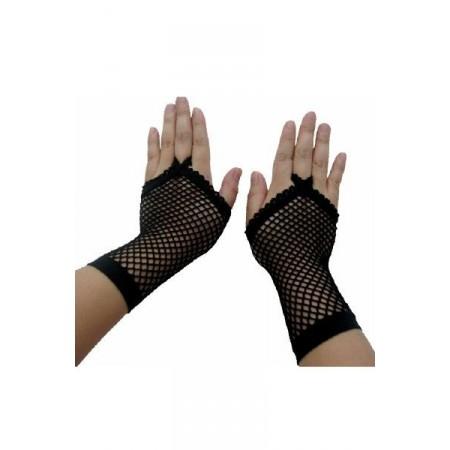 Halbe Handschuhe Netz Schwarz