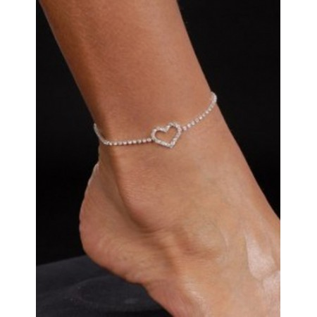 Bracelet Cheville COEUR Argent