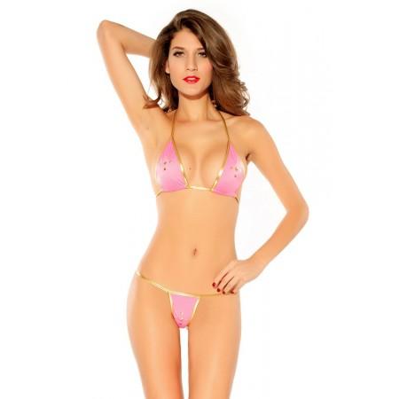 Bikini sexy rosa e oro