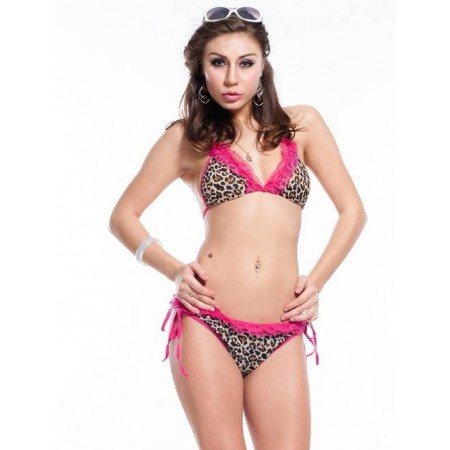 Bikini Sexy léopard avec dentelle colorée