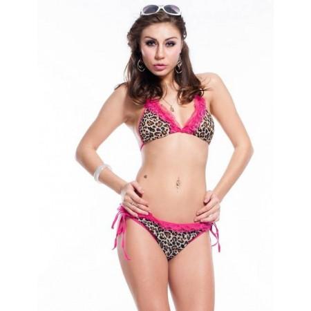 Bikini Sexy leopardato con pizzo colorato