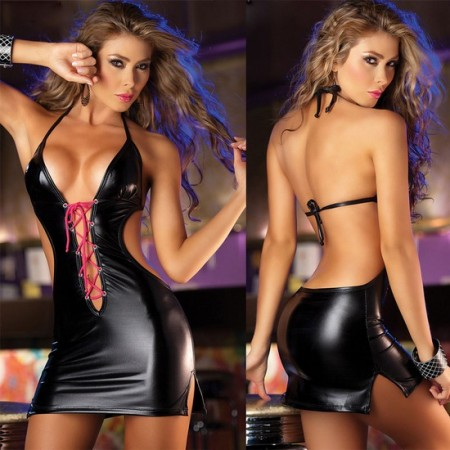 Robe Sexy CLUBBEUSE similicuir
