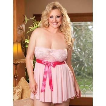 Nuisette Sexy Plus Size Rose Bonbon ROSITA XXXL